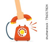 retro style red telephone... | Shutterstock .eps vector #756317824