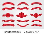 ribbon banner set. red ribbons... | Shutterstock .eps vector #756319714
