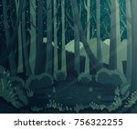 night forest landscape with