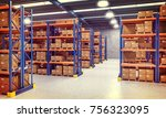 classic warehouse with pallet... | Shutterstock . vector #756323095