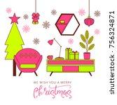christmas greeting card... | Shutterstock .eps vector #756324871