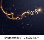 2018 new year background. light ... | Shutterstock .eps vector #756324874