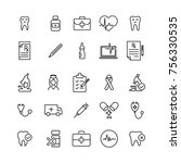 set of premium healthcare icons ... | Shutterstock .eps vector #756330535