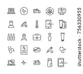set of premium health icons in... | Shutterstock .eps vector #756330955