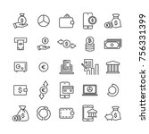 set of finance thin line icons. ... | Shutterstock .eps vector #756331399