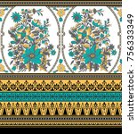 seamless traditional indian... | Shutterstock . vector #756333349