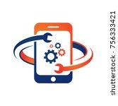 mobile phone repair logo  | Shutterstock .eps vector #756333421