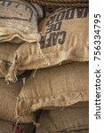 stack of burlap sacks with... | Shutterstock . vector #756334795