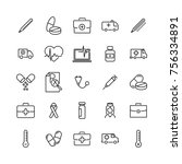 set of premium medical icons in ... | Shutterstock .eps vector #756334891