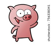 cheerful pig cartoon | Shutterstock .eps vector #756338341