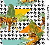 tigers in tropical flowers and...   Shutterstock .eps vector #756338959