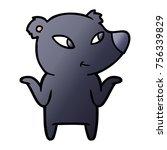 cute cartoon bear shrugging... | Shutterstock .eps vector #756339829