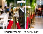 golden stanchions with a red...   Shutterstock . vector #756342139