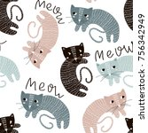 Stock vector childish seamless pattern with cute artistic cats trendy scandinavian vector background perfect 756342949