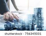 double exposure of businessman... | Shutterstock . vector #756345031