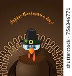thanksgiving turkey greeting... | Shutterstock .eps vector #756346771