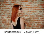 red haired stylish girl in... | Shutterstock . vector #756347194