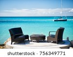 armchairs and table on tropical ... | Shutterstock . vector #756349771
