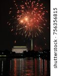 fourth of july fireworks in... | Shutterstock . vector #756356815