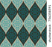 vector damask seamless pattern... | Shutterstock .eps vector #756358591