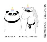 best friends   panda and unicorn | Shutterstock .eps vector #756364015