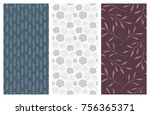 set of vector seamless floral... | Shutterstock .eps vector #756365371