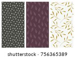 set of vector seamless floral... | Shutterstock .eps vector #756365389