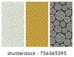 set of vector seamless floral... | Shutterstock .eps vector #756365395