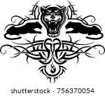black panther tattoo | Shutterstock . vector #756370054
