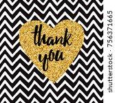 hand drawn gold sparkle heart ... | Shutterstock .eps vector #756371665