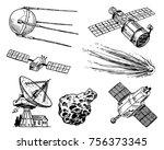 space shuttle  radio telescope... | Shutterstock .eps vector #756373345