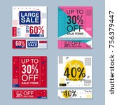 set of colorful trendy sale... | Shutterstock .eps vector #756379447