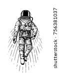 astronaut spaceman. planets in... | Shutterstock .eps vector #756381037