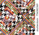 seamless pattern mixed design.... | Shutterstock . vector #756382369