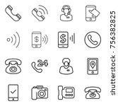 thin line icon set   phone ... | Shutterstock .eps vector #756382825