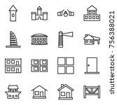 thin line icon set   tower ... | Shutterstock .eps vector #756388021