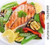 grilled salmon with vegetables... | Shutterstock . vector #75639049