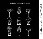 sketchy cocktails icons | Shutterstock .eps vector #756390604