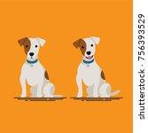 cute flat vector small dog... | Shutterstock .eps vector #756393529