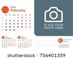 desk calendar for february 2018 ... | Shutterstock .eps vector #756401359