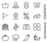 thin line icon set   basket ... | Shutterstock .eps vector #756404074