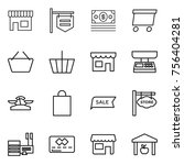 thin line icon set   shop ... | Shutterstock .eps vector #756404281