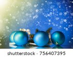 beautiful new year toys on an... | Shutterstock . vector #756407395