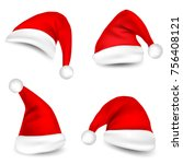 christmas santa claus hats with ... | Shutterstock .eps vector #756408121