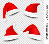 christmas santa claus hats with ... | Shutterstock .eps vector #756408139