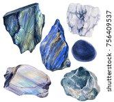 watercolor set with gemstones.... | Shutterstock . vector #756409537