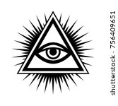 all seeing eye of god  the eye... | Shutterstock .eps vector #756409651
