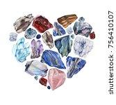 watercolor gemstone heart.... | Shutterstock . vector #756410107