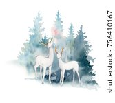 watercolor christmas... | Shutterstock . vector #756410167