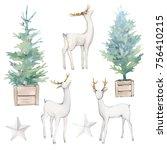 watercolor christmas...   Shutterstock . vector #756410215